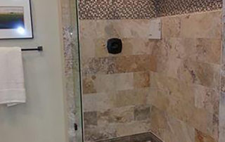 07 2015 Master Shower with recessed pattern soap box and flooring
