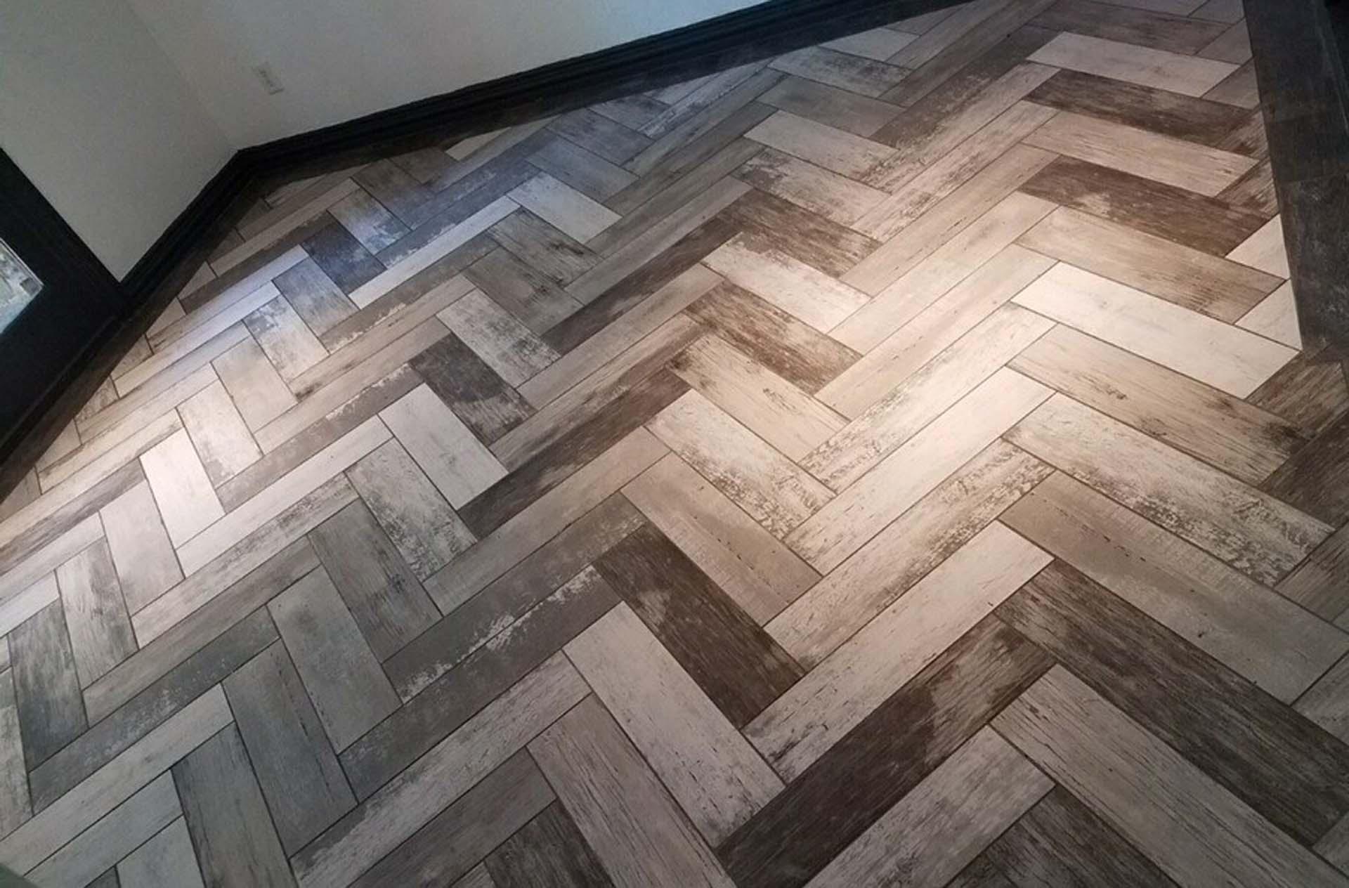 2 JH Floor Wood Look Herringbone Tile