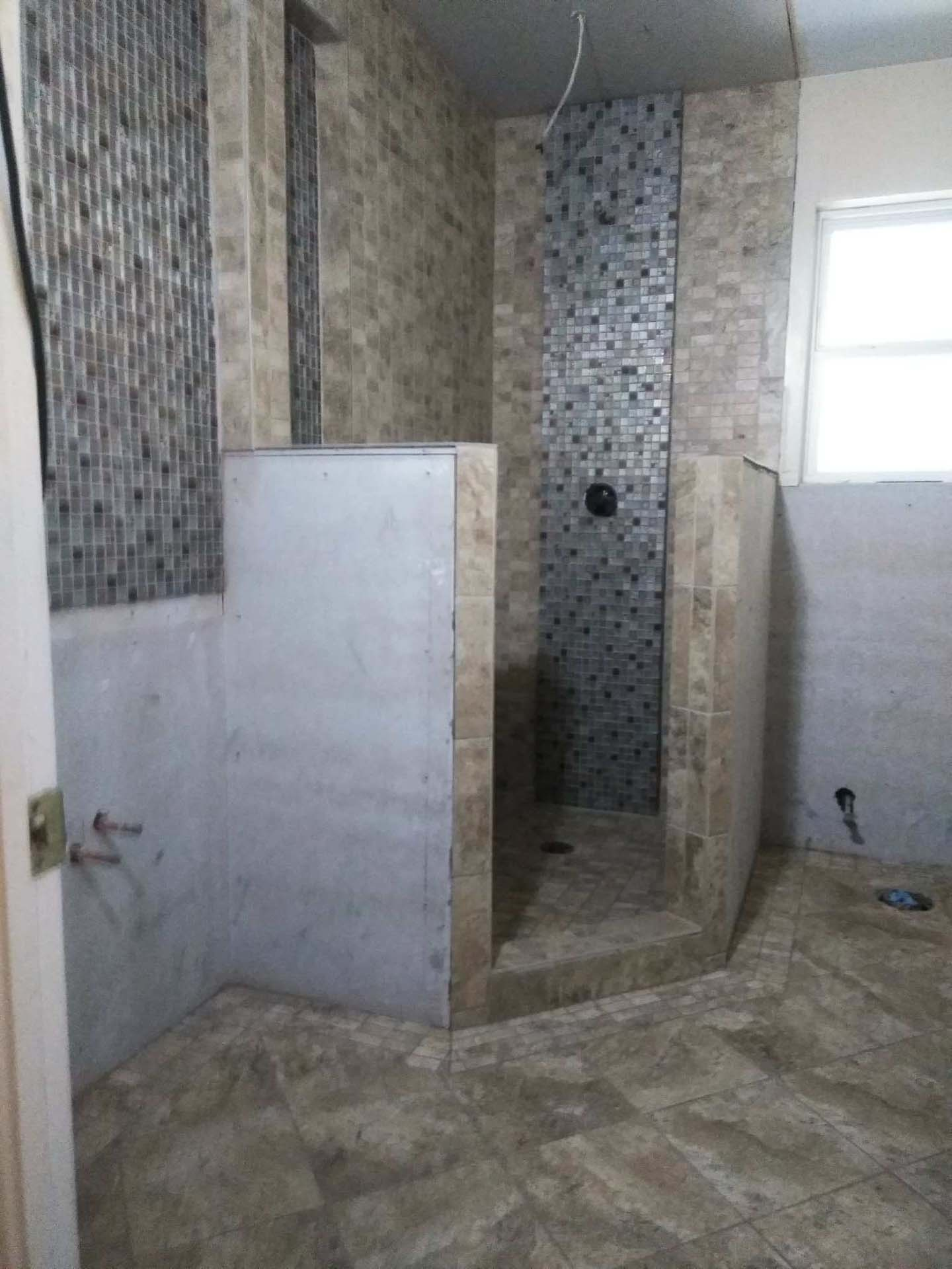 35 Shower and bath in progress