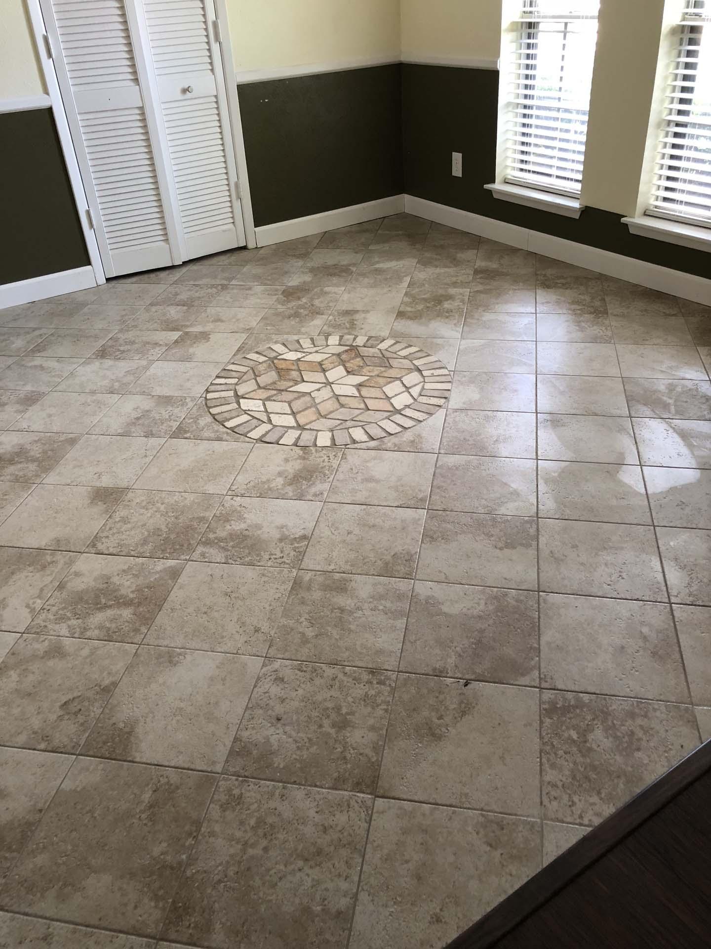 Floor Diagonal with circualr Medallion