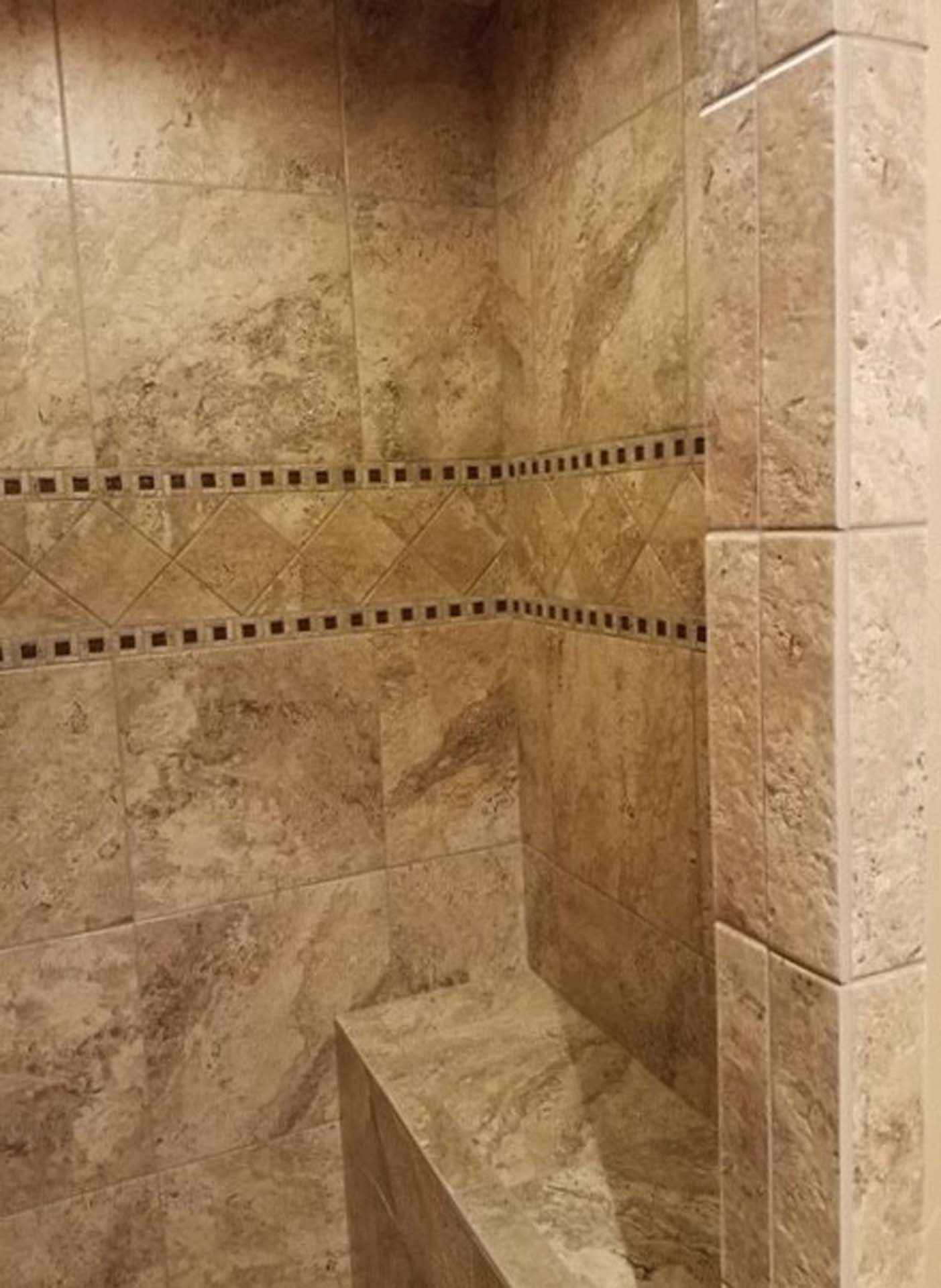 JH Straight Lay Shower with Bench Seat Deco Wall Insert