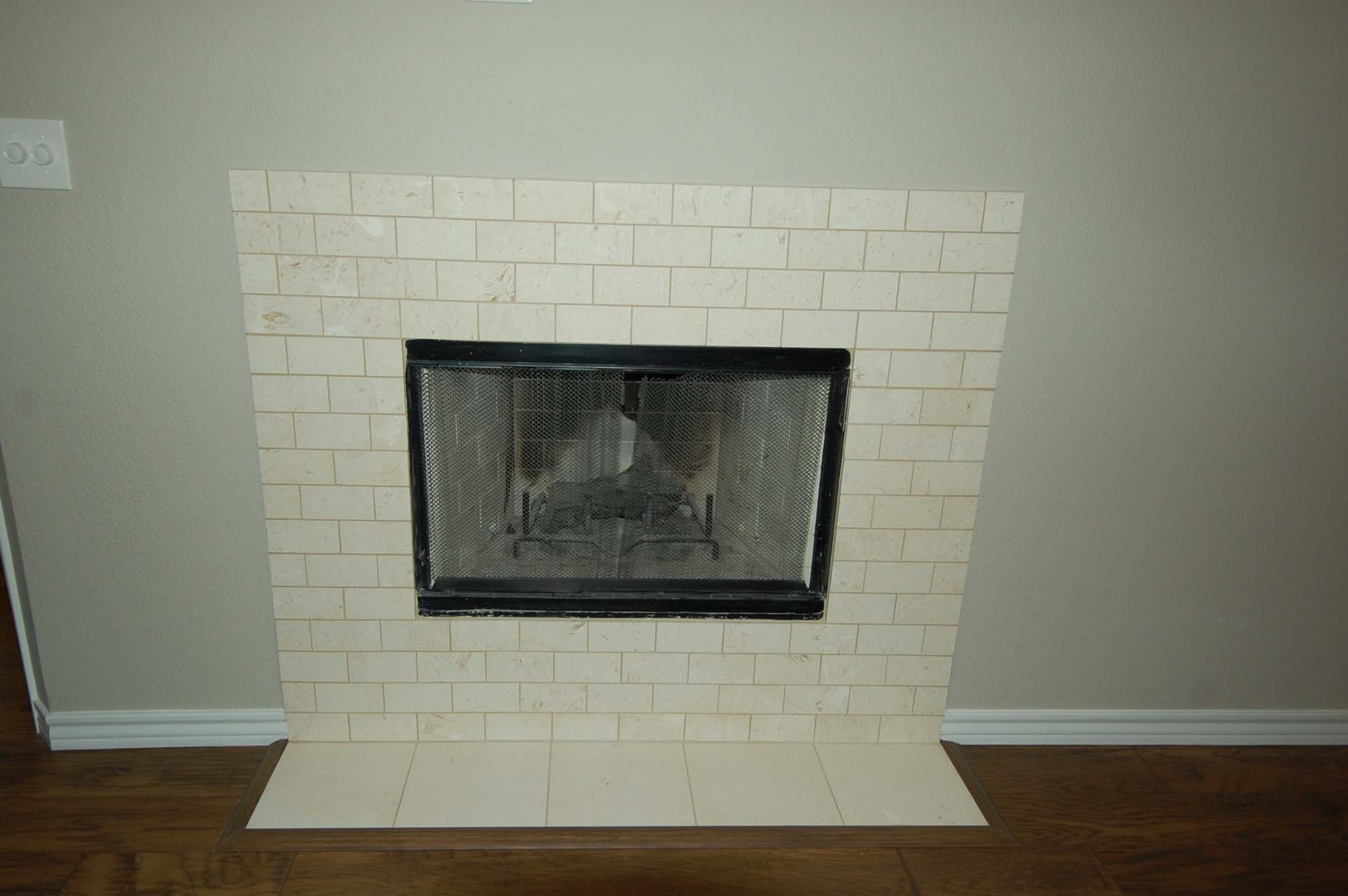 MBR Limestone Subway Fireplace and flat Hearth